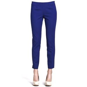 Theory Belisa Side Zip Blue Cropped Twill Pant